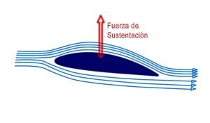 esquema del flujo del aire en un ala